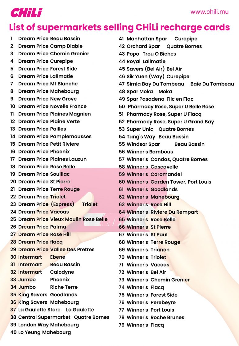 List of supermarkets selling Chili recharge cards during COVID19 confinement